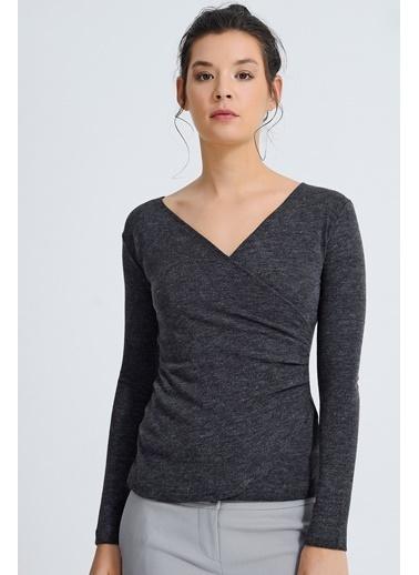 Jument Carmen Kruvaze Önü Büzgülü Uzun Kol Bluz Antrasit